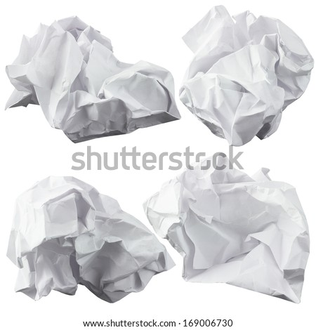 Crumpled paper. Four lump. The design elements - stock photo