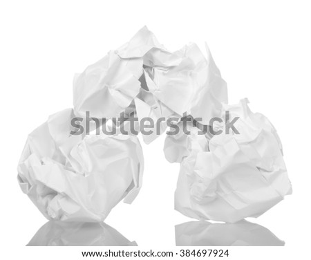 Crumpled paper in the form of balls isolated on white background.