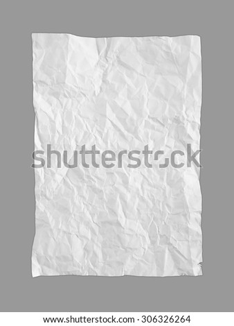 crumpled paper isolated on gray