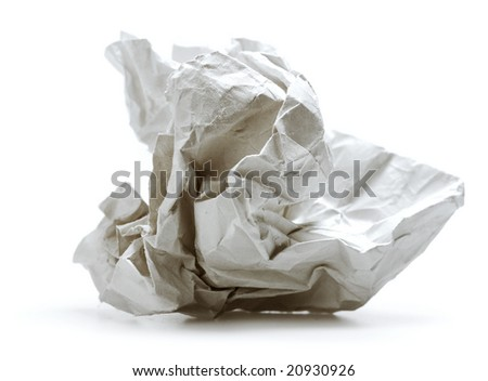 crumpled paper isolated on white background - stock photo