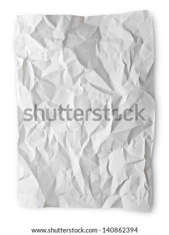 Crumpled paper isolated on white with clipping path - stock photo