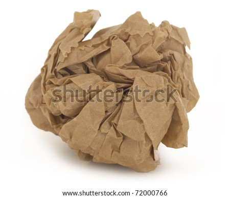 Crumpled paper isolated over white. - stock photo
