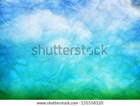 Crumpled paper nature background - stock photo