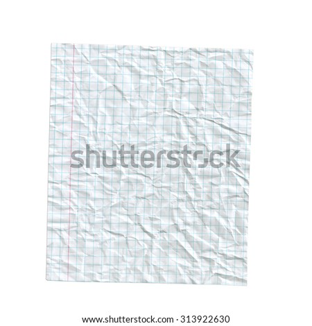 Crumpled paper. Notebook page