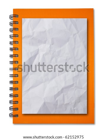 Crumpled paper on Orange notebook - stock photo