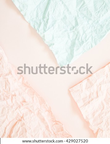 Crumpled paper on pink  paper texture background.