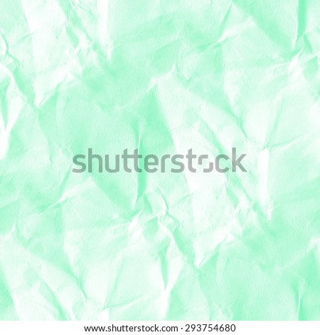 crumpled paper texture, grunge white and mint background, seamless pattern - stock photo