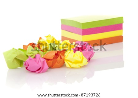 Crumpled paper wads. Idea concept - stock photo