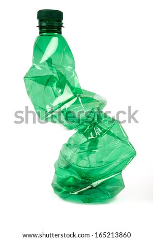 Crumpled plastic bottle - stock photo