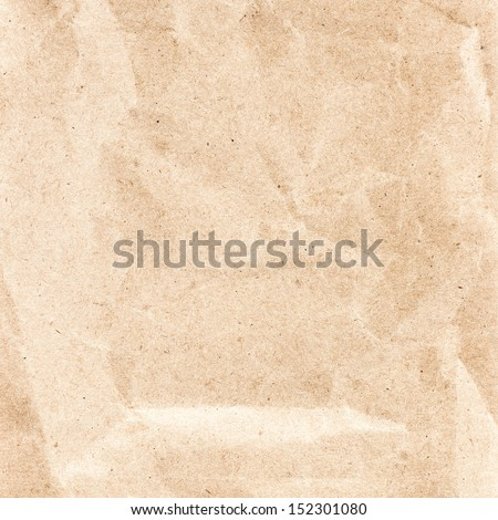 Crumpled recycled paper  texture or background. Vintage craft paper texture.