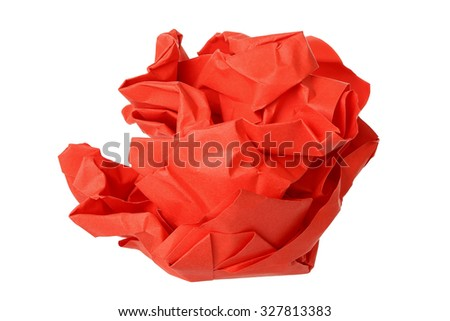 crumpled red paper ball isolated on white