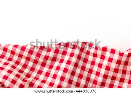 crumpled red tablecloth on white background
