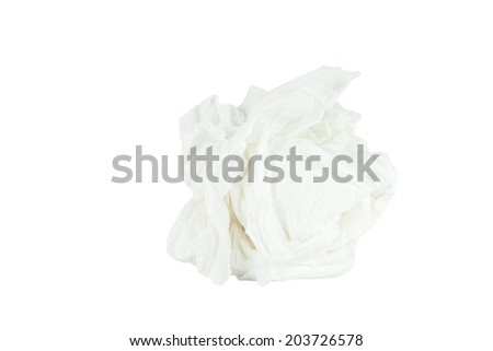 Crumpled tissue paper isolated white background. Save with path. - stock photo
