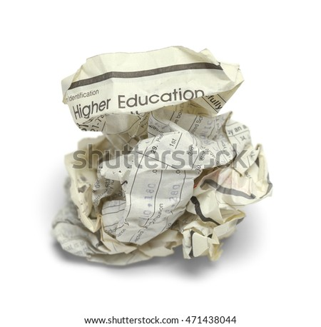 Crumpled Up School Loan Paper Isolated on White Background.