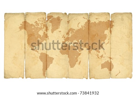 crumpled vintage world map on white