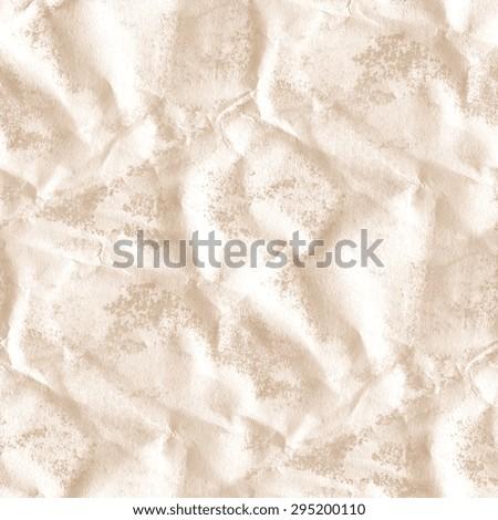 crumpled wet white paper texture, grunge background, seamless pattern - stock photo
