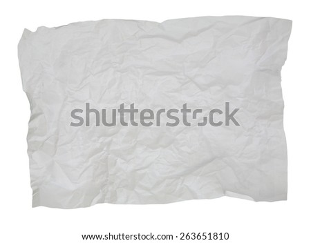 crumpled white paper isolated on white for textured background - stock photo