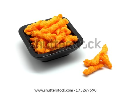 Crunchy cheese snacks isolated on white background - stock photo