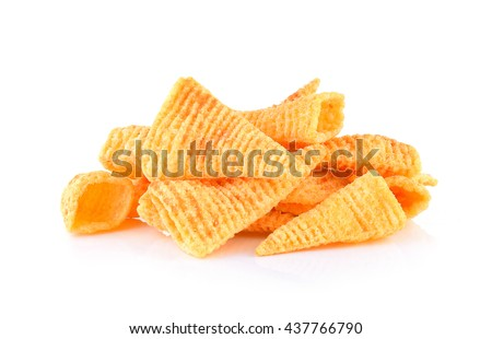 Crunchy corn snacks on a white background