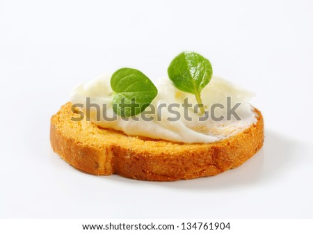 crunchy cracker with cheese on top - stock photo
