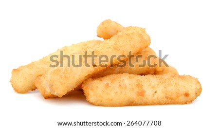 crunchy fish sticks isolated on white