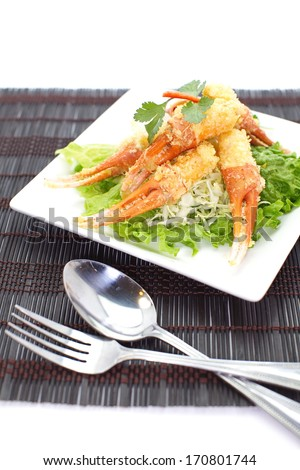 Crunchy fried crab leg appetizer - stock photo