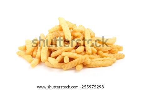 Crunchy prawn crackers on white background
