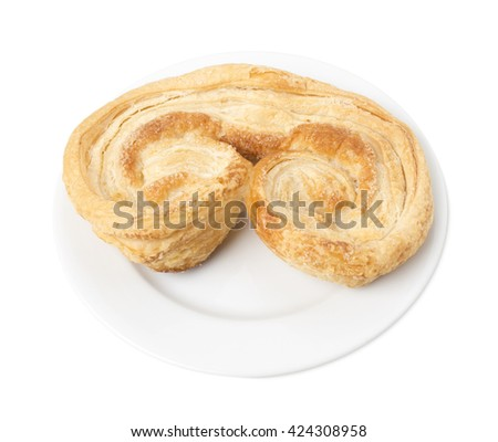 Crunchy puff pastry. Isolated on a white background.  - stock photo