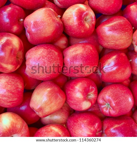 crunchy red apples closeup, natural background