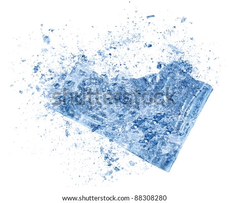 Crush ice isolated white background - stock photo