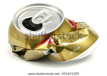 crushed beverage can isolated on white background - stock photo