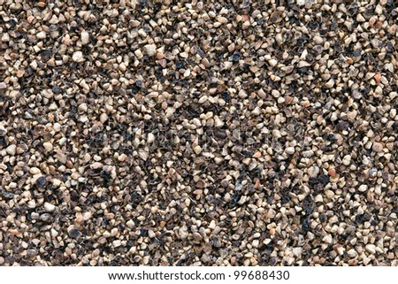 Crushed  Black pepper (Piper nigrum) texture, full frame background. Used as a spice in cuisines all over the world. The plant is also used in medicine. - stock photo