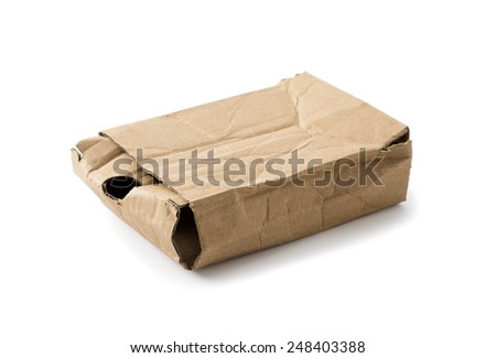 Crushed cardboard box , Clipping path , Isolated on a white - stock photo