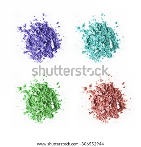 Crushed colorful eyeshadow samples set isolated on white background - stock photo