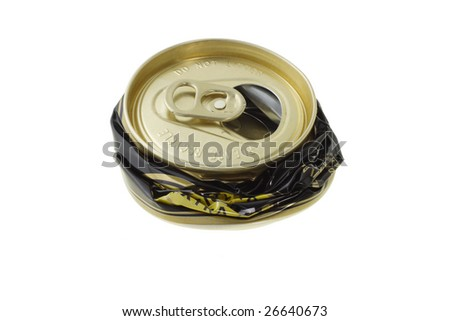 Crushed disposable can for recycling on white background - stock photo