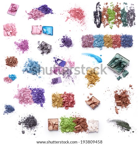 Crushed eye shadow over white background  - stock photo