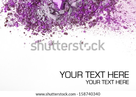 Crushed eye shadows on white background. Beauty concept - stock photo