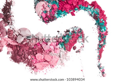 crushed eyeshadows mixed with brush isolated on white background - stock photo