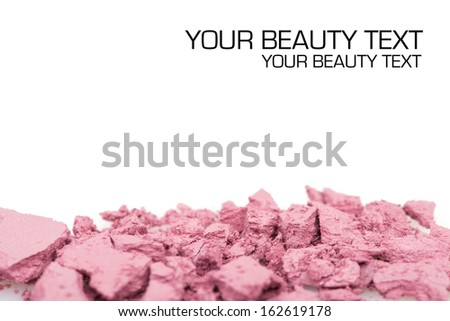 Crushed eyeshadows on white. Beauty concept - stock photo