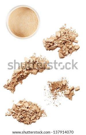 crushed face powder closeup set - stock photo