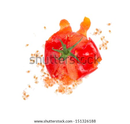 Crushed fresh tomato isolated on white background. - stock photo