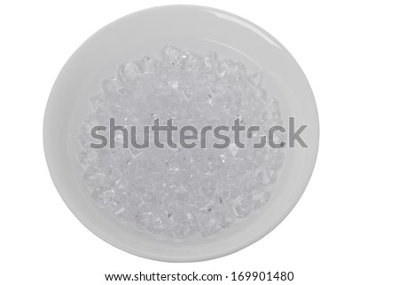 Crushed Ice in a White Bowl Isolated on a White Background - stock photo
