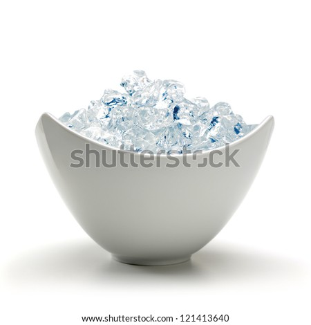 Crushed ice in bowl - stock photo