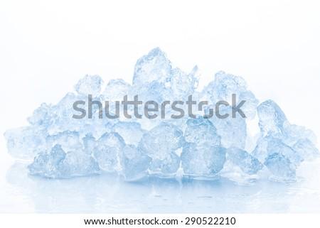Crushed ice isolated on white background - stock photo