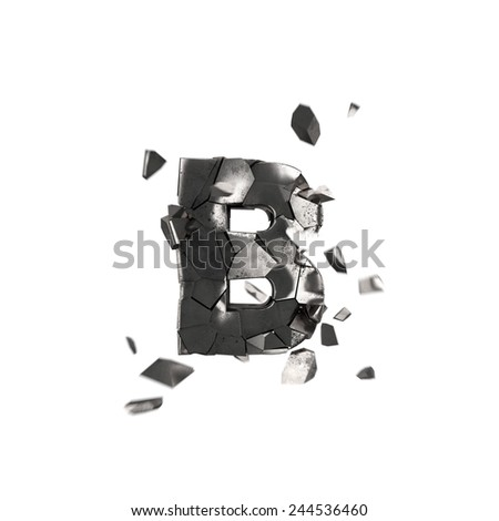 crushed iron letter B - stock photo