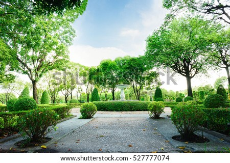 Stone Park Bush Blue Sky Day Stock Photo 526796164