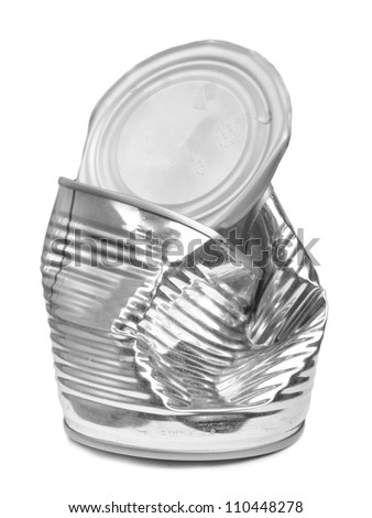 Crushed tin can isolated on white background - stock photo