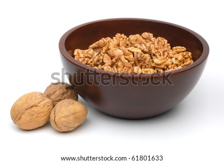 Crushed walnuts in bowl on white