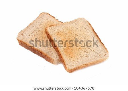 Crusty Bread Toast isolated on white background