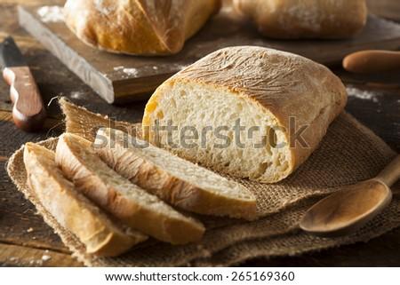 Crusty Homemade Ciabatta Bread Ready to Eat - stock photo